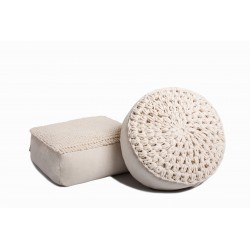 Knitted pouf handmade
