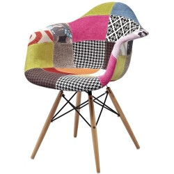 Eames Patchwork chair (wooden legs)
