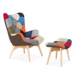 Кресло Флорино с табуреткой, пуфом, цвет пэчворк