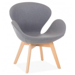 Кресло Сван Вуд Армз, мягкое, ножки дерево бук, ткань