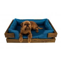 Лежак с деревянным каркасом Dreamer Brown + Denim