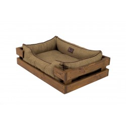 Lounger with wooden frame Dreamer Natural + Olive
