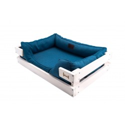 Lounger with wooden frame Dreamer White + Denim