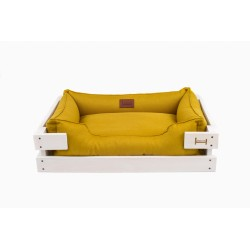 Lounger with wooden frame Dreamer White +Mustard