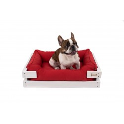 Lounger with wooden frame Dreamer White + Red