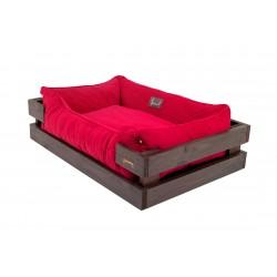 Beach chair with wooden frame Brown Dreamer +Red Velvet