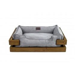 Lounger with wooden frame Dreamer Natural + Grey Velvet