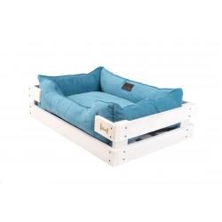 Lounger with wooden frame Dreamer White + Blue Velvet